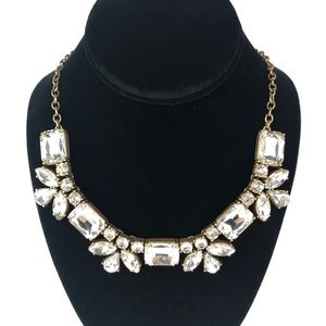 J Crew Art Rhinestones Crystal Deco Gold Necklace